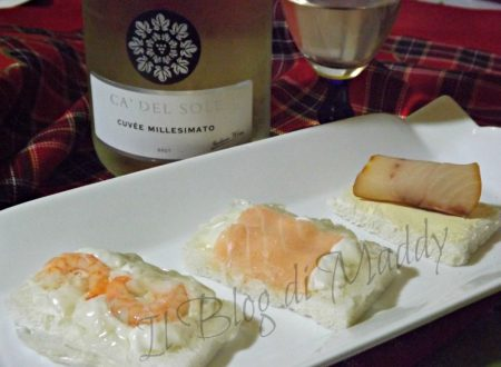 Tartine di Salmone, Gamberetti e Pesce Spada con Cuvée Cà Del Sole